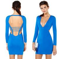 New women dress V-neck elastic slim gloss back ribbon cross patchwork tight-fitting women dress