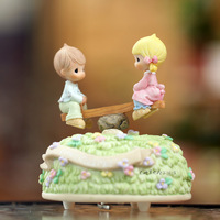 Lovely boy and girl teeterboard music box colorful painted musical boxes Christmas gift birthday gifts home decoration
