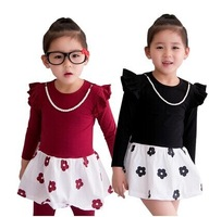 New 2014 Spring Autumn Children's Clothing Girls Dress + Necklace Flower Kids Long-sleeved Dresses Clothes 5pcs/lot