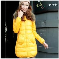 Unique KC01 New 2014 Winter Fashion Down Jacket Candy Color Winter Jacket Women Shawl Long Sections Slim Down Parka Coat