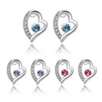 (Minimum order $ 15)Fashion All-match fashion Crystal Heart Earrings BLING HEART