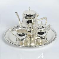 New arrival European style shiny silver finish coffee set, 1 set=1 plate+1 coffee pot+ 1 sugar jars, metal tea set/wine set