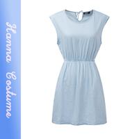 New 2014 summer slim fashion denim sleeveless dresses women clothing high waist casual dress for woman BLUE