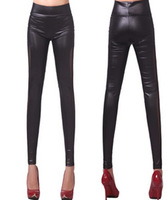 Fashion 2014 New Women Faux PU Leather Smartmesh Patchwork Legging Elastic Fitless Legging KD-509