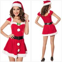 Eudora 2014 New Fashion Fantasia Cute Sexy Santa Girls Mini Red Dress With Button Halloween Christmas Cosplay Fantasias Women
