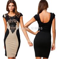 Bandage Dress 2014 New Crochet Women Elegant Embroidery Bodycon Dresses Patchwork Autumn Casual (TFC022)