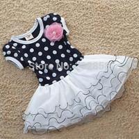 polka dots cute girl dress 3~11age Christmas party ball grown kid dress children's apparel