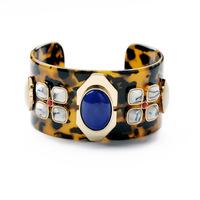wide leopard designs blue gems women fashion bracelets vintage rhinestones charm bracelets for women