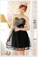 Free Shipping Fashion Uncommon 2014 Black Satin Gown