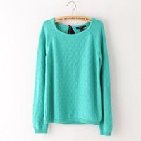 Hot sale new 2014 fashion Women clothing Korean back lace long sleeve pullover sweater female crochet sweater jumper dress green
