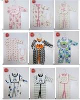 2 pcs set cotton rompers bibs set outfit clothes #3689