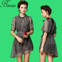 2014 Summer Fifth Sleeve Silk Party Prom Skater Dress Vestidos Black Vintage Strappy Pleat Dress Irregular Peplum Hem Wholesale