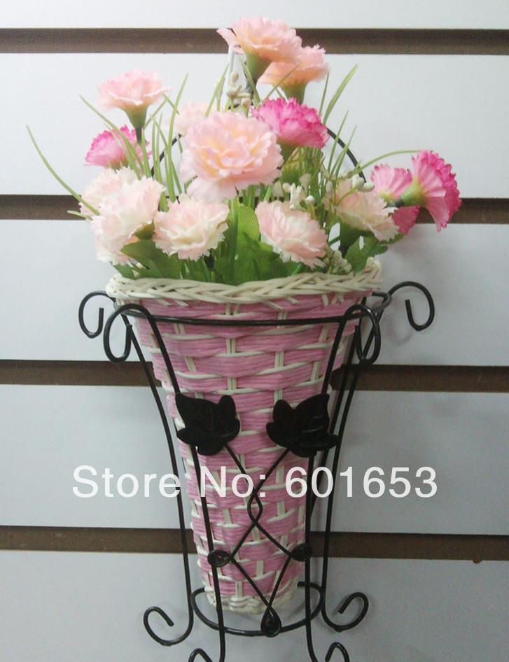 Vaso de parede / cesta floral ferro forjado parede pote pendurado azul rattan para a decoração home / acessórios(China (Mainland))