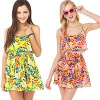 women summer dress flower new design double layer lace patchwork spaghetti strap print dresses