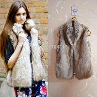 2014 short design stand collar artificial fur coat vest