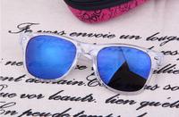 Super Cool Men Women  fashion sunglasses Transparent frame Blue Iridium Lens Outdoor sports sun glasses 4 Color
