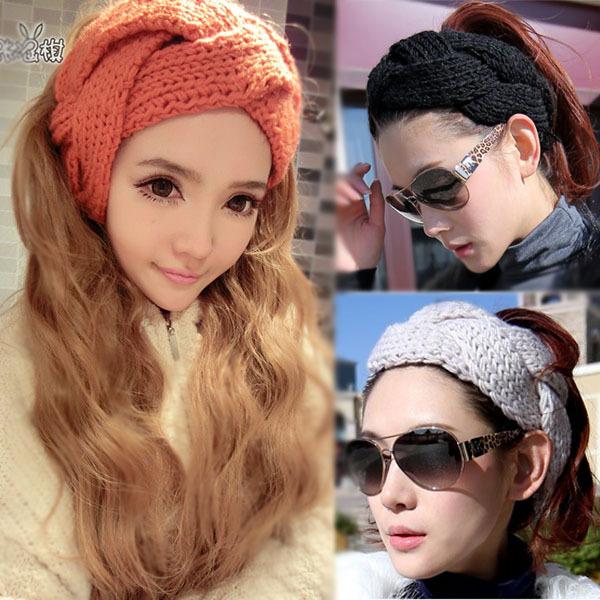 2014 fashion women girl knitted headband twist crochet head wrap ear warmer hair band accessories wholesale Free shipping(China (Mainland))