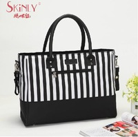 2014 New Arrival Skinly Multifunctional Mother Baby Diaper Bags Fashion Women's Polyester Tote Bag Nappy Striped Bag 6pcs/set