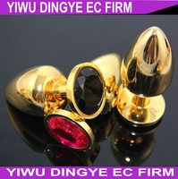 Large Size Gold Stainless Steel Diamond Crystal Butt Anal Plugs Anal Sex Toys for Women 5CM