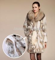 Lady Fashion Genuine Natural Rabbit Fur Coat Jacket Raccoon Fur Collar Winter Women Fur Trench Outerwear Coats VK1464
