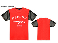 top quality DEFEND t-shirt for men leather short sleeve tees brand new fitness casual tops male blouse hip hop shirt