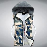 Hot Sale 2014 Cashmere mens vest  Female/Male Thick Vest Sleeveless Camouflage Sports vests New Fashion Winter Coat, male vests