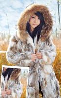 2014 Fashion Genuine Natural Rabbit Fur Coat Raccoon Fur Hoody Winter Women Fur Trench Outerwear Coats VK1465