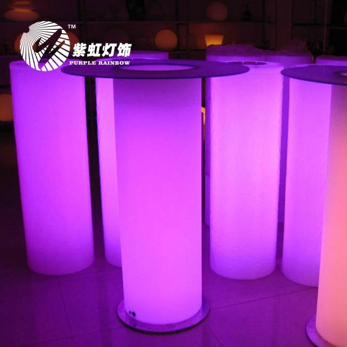 Purple leds at horizontal rainbow table bar furniture nightclub fashion cocktail bar table lamp(China (Mainland))
