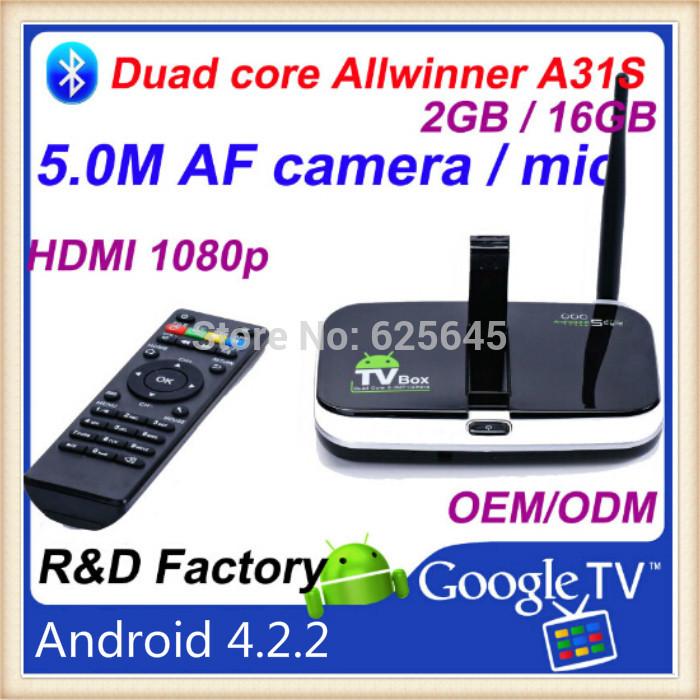 gbox android tv box On sale Andriod 4.2 CS918S 2GB RAM 16GB ROM CS918S 16GB ROM Allwinner A31 Quad core16GB ROM tv box(China (Mainland))