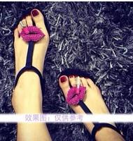 free shipping,sexy lips rhinestone sandals low heels flats flip-flops women slipper shoes sandals,3 colors
