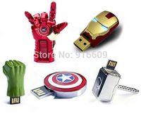 Avengers Ironman Head Hands Thor Hammer Hulk Hands Captain Shield 4GB 8GB 16GB 32GB USB Flash Drive 2.0 Memory Stick Card