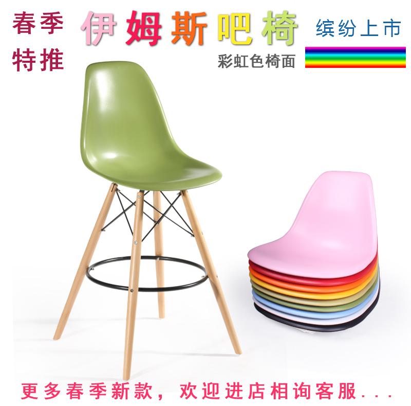 O novo madeira banqueta de encosto alto tamborete cadeira bar estilista cadeira bar casa europeia Eames cadeira de Recepção(China (Mainland))