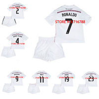 14 15 BALE CRISTIANO RONALDO Camiseta Menino Real Madrid Kids Soccer Jersey 2014 2015 White Pink Boys Football Shirt Uniform Kit