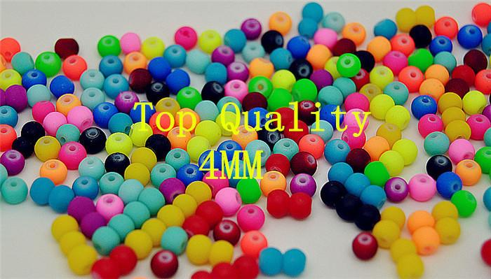 Wholesale-4mm 100pcs Mixed Matte Fluorescent Neon Beads,Acrylic Spacer Ball,Acrylic Round Beads,Free shipping(China (Mainland))