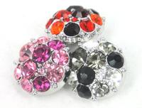 Free shipping Mini 1.2cm CZ stone DIY  button metal charms 3 color mix