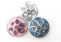 Free shipping Mini 1.2cm flower enamel & CZ stone DIY snap button metal charms