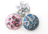 Free shipping Mini 1.2cm flower enamel & CZ stone DIY snap button metal charms