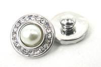 Free shipping Mini 1.2cm pearl rhinestone charm DIY snap button metal charms
