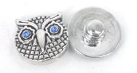 Free shipping Mini 1.2cm owl charm DIY snap button metal charms