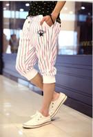 2014 hot sale summer fashion casual men drawstring striped sport capris