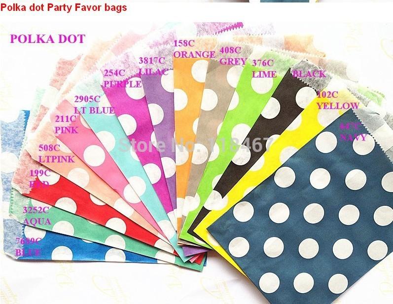 500pcs/lot big large Polk Dot Paper Favor Bags Party Treats bags Candy Favor Goodie Bag wedding celebration decoration(China (Mainland))