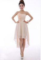 Free shipping New Arrival Bridesmaid dresses short Strapless high/low  dress  hot  sell Bridesmaid dress 2014