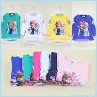 New 2014 Girl Frozen Long Sleeve T Shirt Baby Girls Autumn T-Shirt Kids 100% Cotton Frozen Shirt Tee Retail