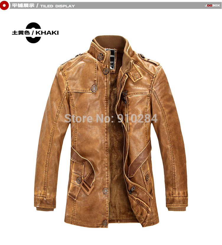 Fashion Brand Men Faux Fur Leather Jacket Khaki/Brown/Grey 3 Colors PU Winter Wind Coat Outdoor Clothing(China (Mainland))