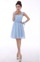 Free shipping New Arrival Bridesmaid dresses short  shoulders  Sweet  dress  hot  sell Bridesmaid dress 2014