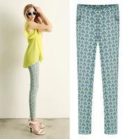 Newest European Slim All-match Two Pockets Pencil Pants Feminine Elastic Waist Vintage Printed Spring Pants 1051