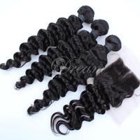 REMY Queen Hair Products Medium Part Deep Wave (4*4) Top Lace Closure Hair Weft  Malaysian Virgin Human Hair 4pcs/lot  UPS Free