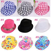 Cute Hot Sale Baby Fedora Hat Kids Summer Cowboy Hat Boys / Girls Jazz Cap Sun Hat Headwear Dicers Free Shipping