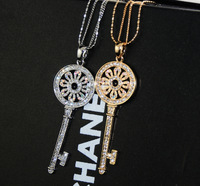 With Europe and the United States diamond key sweater chain Major suit star with the women of the necklace Free Shipping