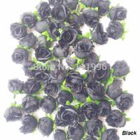 Hot Sale 100 Pcs/Lot High Quality 3cm Black Colors Artificial Silk Rose Flower Head Wedding Home Beautiful Decoration